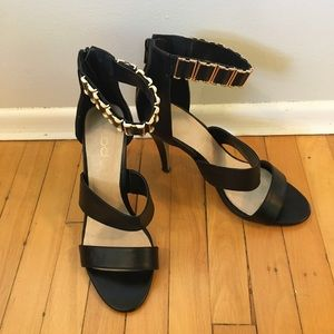 Aldo Black Heels with Gold Ankle Detail | 9